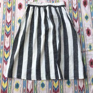 Catherine Maladrino Striped Linen Skirt w/Pockets